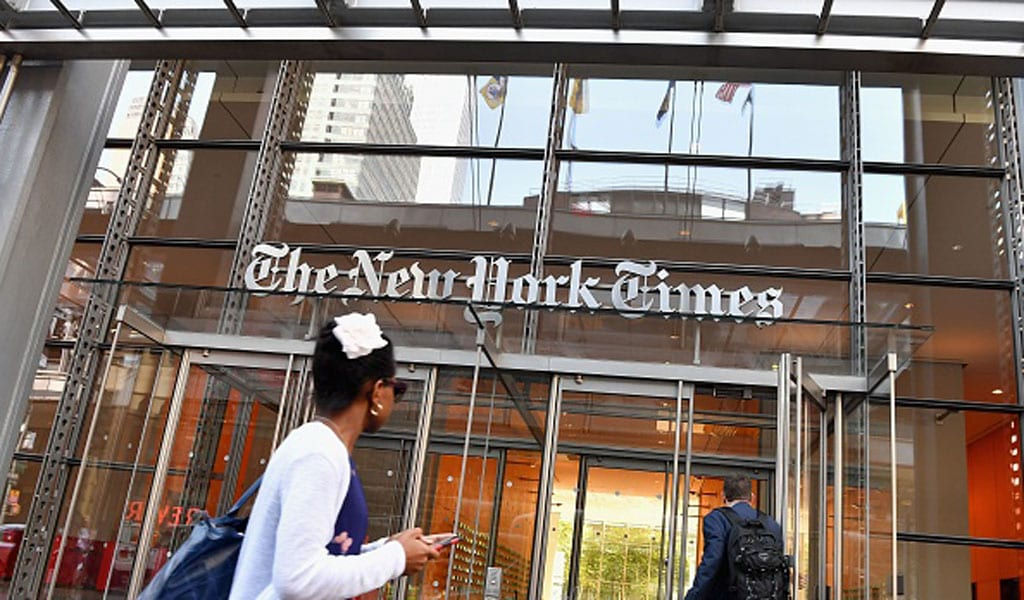The New York Times building in Manhattan (Photo: ANGELA WEISS/AFP via Getty Images)