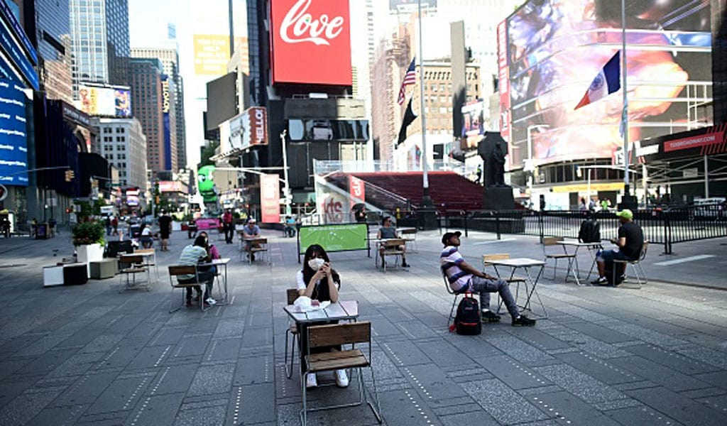 Terror in the time of COVID. Have places like Times Square become less of a target due to lack of people? (Photo: JOHANNES EISELE/AFP via Getty Images)