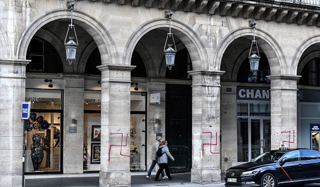 In an antisemitic attack, swastikas were spray painted on columns of the Rue de Rivoli in central Paris on October 11, 2020. (Photo: STEPHANE DE SAKUTIN/AFP via Getty Images)