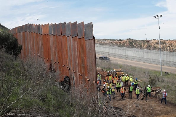A section of border wall under constructed on the U.S. side of the border near Tijuana, Mexico in January 2019 (Photo by Scott Olson/Getty Images)