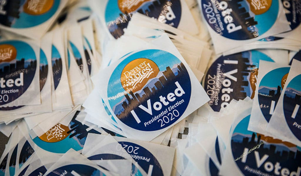'I Voted' stickers for voters on their way out at Ball Arena on November 3, 2020 in Denver, Colorado. (Photo: Marc Piscotty/Getty Images)