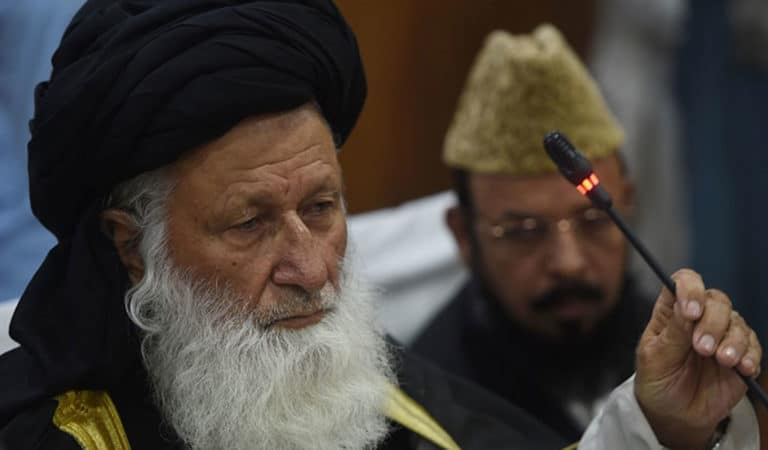 Maulana Muhammad Khan Sherani, head of the Council of Islamic Ideology, was also in the spotlight in 2016 when a religious body ruled that men should be allowed to 'lightly beat' their wives in the context of a draft of a women's protection bill. (Photo: FAROOQ NAEEM/AFP via Getty Images)